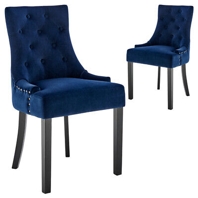AU274 • Buy DukeLiving Belle Scoop Back Provincial Upholstered Dining Chairs Navy (Set Of 2)
