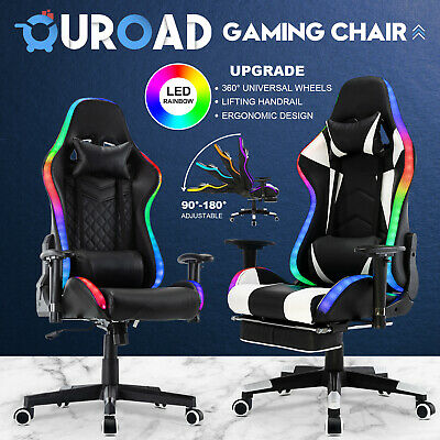 AU27.90 • Buy Executive Office Computer Gaming Chair LED Light Racer Recliner 180° PU Seat