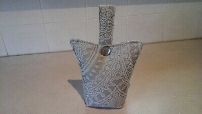 £5.99 • Buy SMALL FABRIC DOOR STOP Grey  With Button  Detail - FILLED