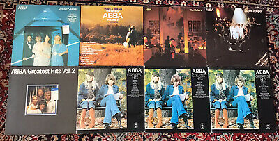 £49.99 • Buy 8 ORIGINAL Abba Vinyl Records Job Lot Of Vintage Collectable Abba Lps + LEAFLETS