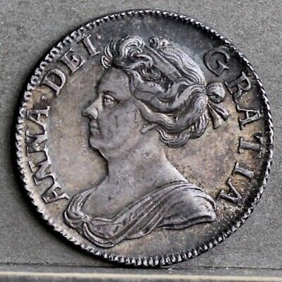 £575 • Buy Queen Anne 0.925 Silver Shilling, 1708, 3rd Bust, Plain Angles. EF Rainbow Tones
