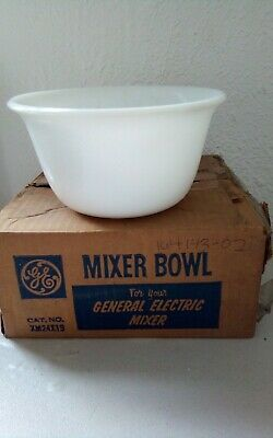 $9.99 • Buy Vintage GE 1 Pebbled Texture Mixing Bowls White Milk  7.25 In.New With Box