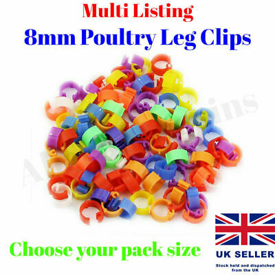 £2.59 • Buy 10 - 100 Poultry Clip Leg Rings 8mm Spring Chicken Hatching Pigeon Pheasant Bird