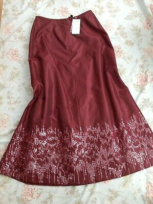 £25 • Buy Laura Ashley Red Wine Taffeta-Look Evening Maxi Skirt With Sequins Size 14 BNWT