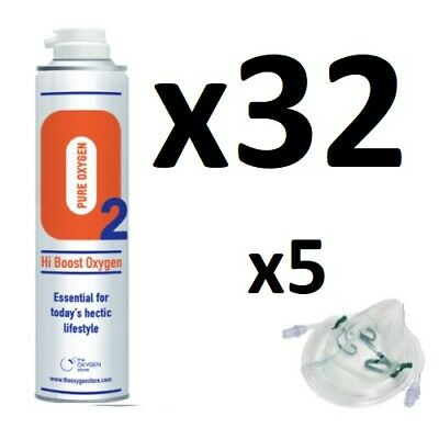 £199.99 • Buy 32 X 10L Pure Canned Portable O2 Canister 99.5% Oxygen In A Can Sport Therapy