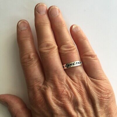£16 • Buy Marc Jacobs Latin Inscribed Ring 'FOR YOU. FOREVER' UK N USA 7 Silver Love Gift