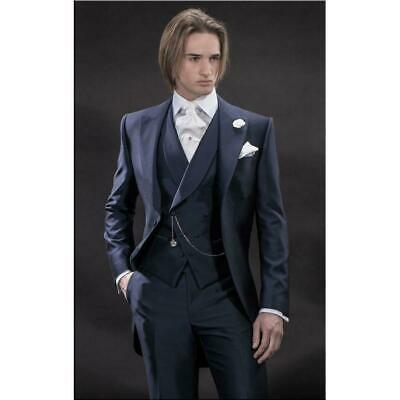 £73.29 • Buy Men's 3 Pcs Navy Blue Groom Tuxedos Wedding Party Prom Business Tail Suit Custom