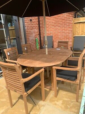 £949 • Buy Teak Garden Furniture 6 Seater Round Extending Table And Chair Set With Cushion
