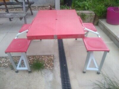 £16 • Buy Weile Folding Camping Picnic Table And Chairs Set - Red Plastic