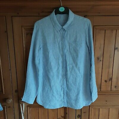 £5.99 • Buy Autograph By M&s 100% Linen Chambray Blue Long Sleeved Collared Shirt. Size 12
