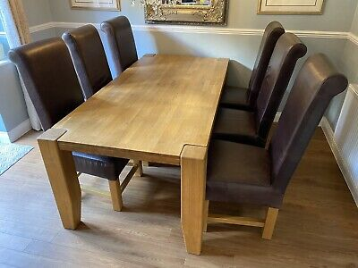 £250 • Buy Solid Oak Dinning Table And 6 Leather Chairs