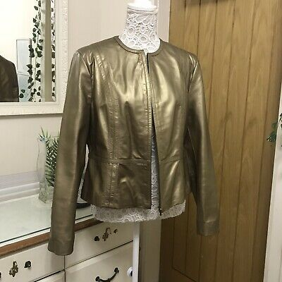 £75 • Buy M&S Metallic Gold Real Leather Jacket Size18