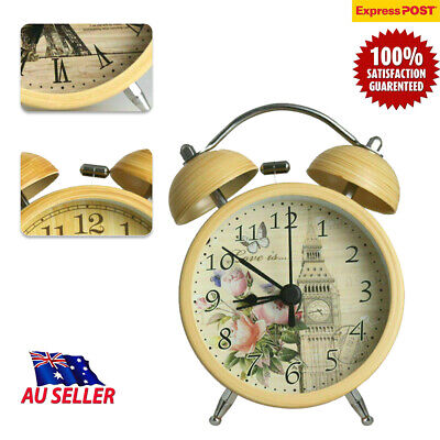 AU21.84 • Buy Vintage Grain Bell Alarm Clock Twin Bell Mute Quartz Analog Battery Operated GD