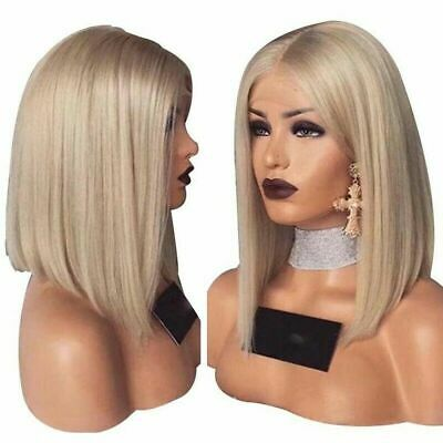 £12.68 • Buy Women's Bob Wig Short Straight Full Wigs Cosplay Party Blonde No Lace Front Hair