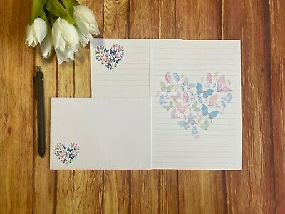 £4.50 • Buy Butterfly Heart Writing Paper And Envelopes, 10 Sheets & 5 Envelopes, Letter Set