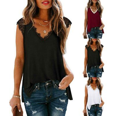 £7.79 • Buy Womens Summer Vest Tank Tops Lace Sleeveless T-shirt V Neck Casual Tunic Blouse