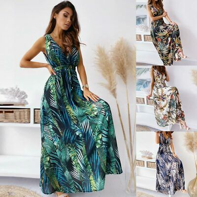 £14.99 • Buy Womens Floral Boho Long Summer Dress Ladies Holiday Ball Prom Maxi Sundress Gown