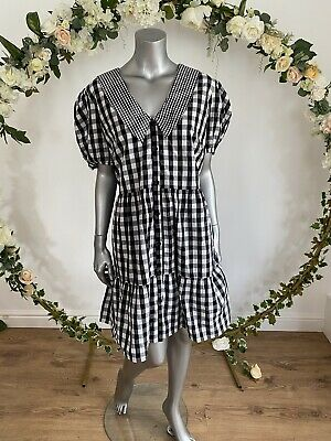 £14.99 • Buy Influence Dress Size 16 18 & 22 Black White Gingham Check Tiered Cotton New HZ31