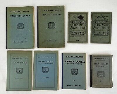 £20 • Buy 8 X Vintage Pitman's Shorthand Books Modern Course, Manual, Review, F23