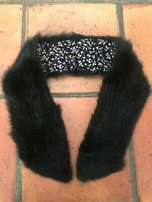 £6 • Buy Vintage Slim Black Fur Collar Stole Scarf Thick And Glossy