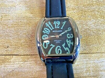$1250 • Buy ⭐️EUC⭐️ Millage 1924gblk – Metal Watch Silver Stainless Case Black Leather Band