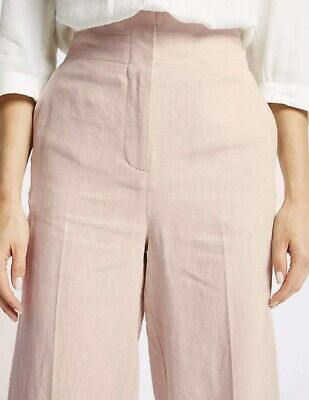 £4.30 • Buy M&S COLLECTION Linen Cropped Straight Leg Trousers | Pink, 12R, RRP £35 BNWT