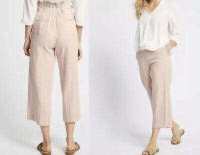 £5 • Buy M&S COLLECTION Linen Cropped Straight Leg Trousers | Pink, 10R, RRP £35 BNWT