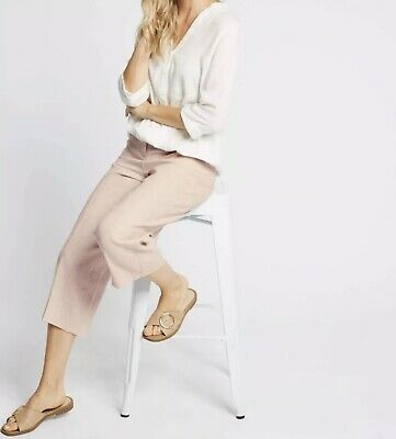 £4.50 • Buy M&S COLLECTION Linen Cropped Straight Leg Trousers | Pink, 14L, RRP £35 BNWT