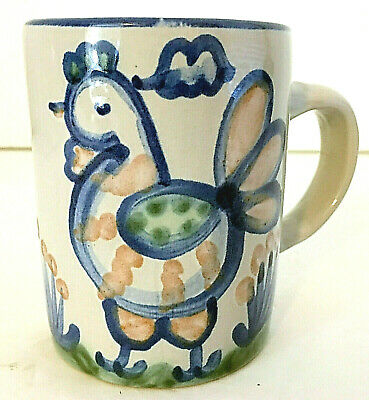 $14.99 • Buy M A Hadley Mug Cup Chicken Blue Gray Stoneware The End 4 H 8 Oz Made In USA EUC