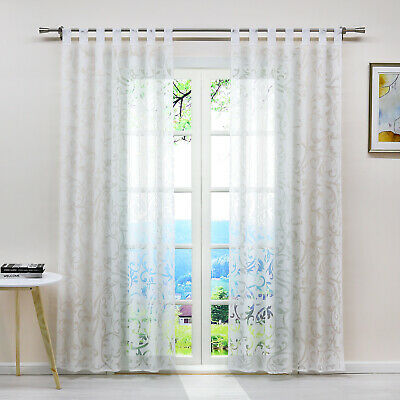 £17.99 • Buy Curtains Net Panel Voile Floral Ring Top Eyelet/Tab Top/Pencil Pleat Ready Made