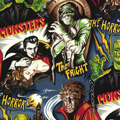 £8.75 • Buy Halloween Fabric - Midnight Monsters - Fabric Material