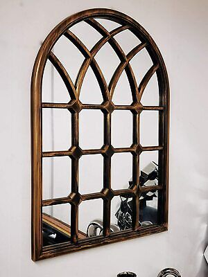 £45.51 • Buy Large Arched Window Arch Mirror Brushed Copper Vintage Indoor Outdoor Wall Mount