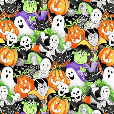 £7.95 • Buy  Here We Glow Multi Packed Faces - Halloween Fabric Material