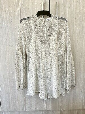 AU155 • Buy Alice Mcall White Floral Hands To Myself Lace Playsuit Size 6