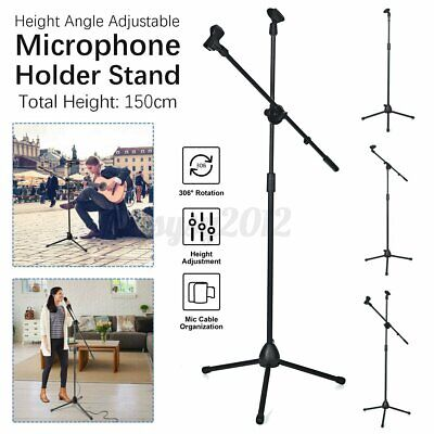 £13.11 • Buy UK 1.5m Microphone Stand Holder Boom Arm Height Angle Adjustable W/ Tripod Bas