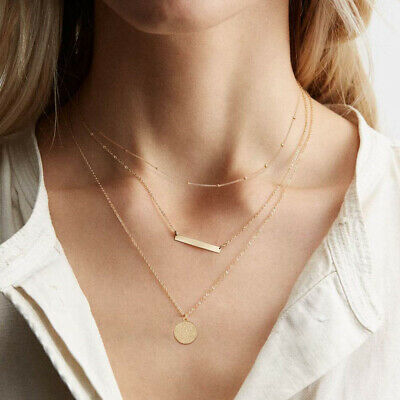 £7.11 • Buy Gold Layered Necklaces Dainty 14k Plated Pendant Coin And Devil Eyes Choker New