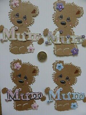 £4 • Buy 4 Large Cute MUM Bear Pretty Handmade Card Toppers Birthday Mother's Day