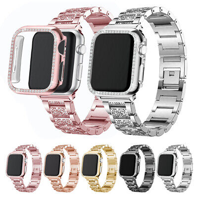 $ CDN15.65 • Buy Stainless Steel Band+Bling Case For Apple Watch Series 6 5 4 3 2 1 38/40/42/44mm