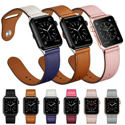 $ CDN12.84 • Buy Genuine Leather Band Strap Bracelet For Apple Watch Series 6 5 4 3 2 1 38-44mm