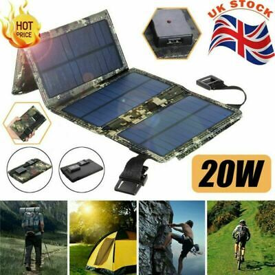 £19.39 • Buy 20W Portable Solar Panel Power Bank Fold Charger Outdoor Camping Travel Charge