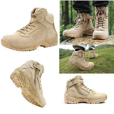 $44.64 • Buy Mens Ankle Side Zip Zipper Military Tactical Hiking Boots Leather Combat Boots