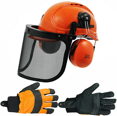 £28.39 • Buy Chainsaw Safety Helmet With Mesh Visor Ear Muffs Chin Strap + Gloves