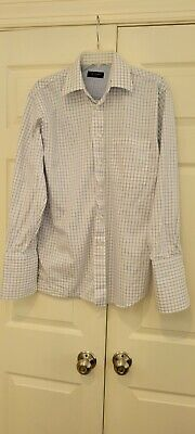 £3.54 • Buy Ted Baker White & Blue Check French Cuff Shirt 15 X 32/33