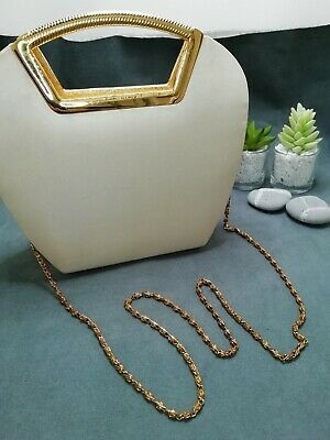 £12.75 • Buy Vintage Ladies 1960's Bag Gold Colour Metal Handle And 'feet' And Shoulder Chain
