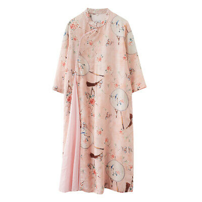 £17.27 • Buy Lady Ethnic Dress Slit Floral Cotton Linen Cheongsam Chinese Frog Qipao Vintage