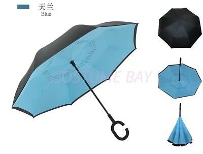 AU29.95 • Buy Windproof Upside Down Reverse Umbrella C-handle Double Layer Inside-out Inverted