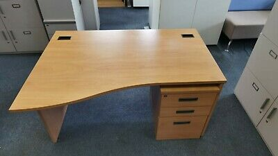 £45 • Buy 140cm Office Home Wave Beech Desk Table With Pedestal/Drawers L&R Available