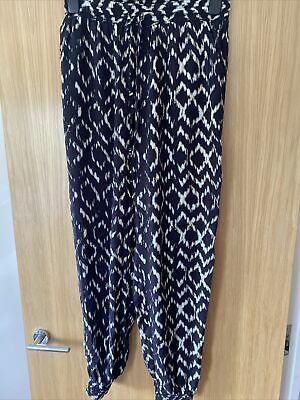 £6 • Buy New Look Navy Elasticated Waist Cuffed Harem Style Trousers Size 10