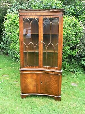 £85 • Buy Bevan Funnell Mahogany Glass Bow Fronted Corner Cabinet