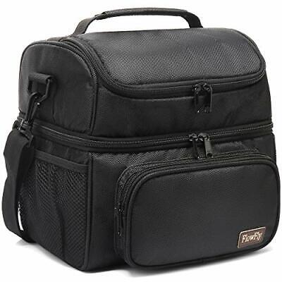 $ CDN35.75 • Buy Lunch Bag 2 Roomy Compartment Thermal Lunch Box Large Reusable Double Decker NEW